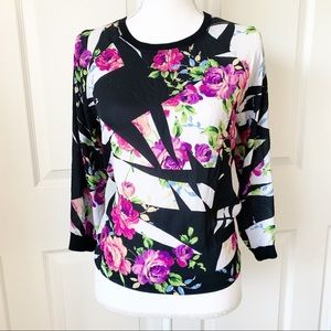 Forever 21 Black Pink Floral Long Sleeve Top Sz S